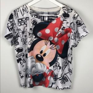 Disney Minnie Mouse Graffiti Print Tee Shirt